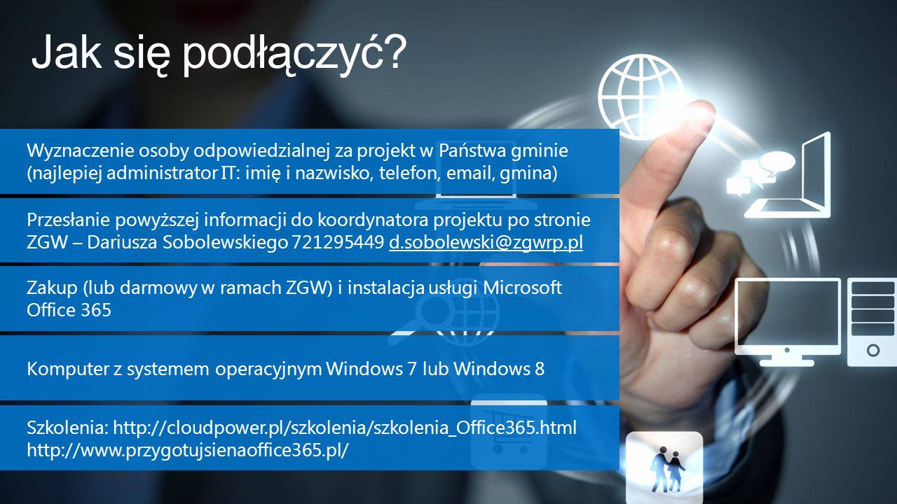 Jak się podłączyć? Przesłanie powyższej informacji do koordynatora projektu po stronie ZGW – Dariusza Sobolewskiego 721295449 d.sobolewski@zgwrp.pl Za