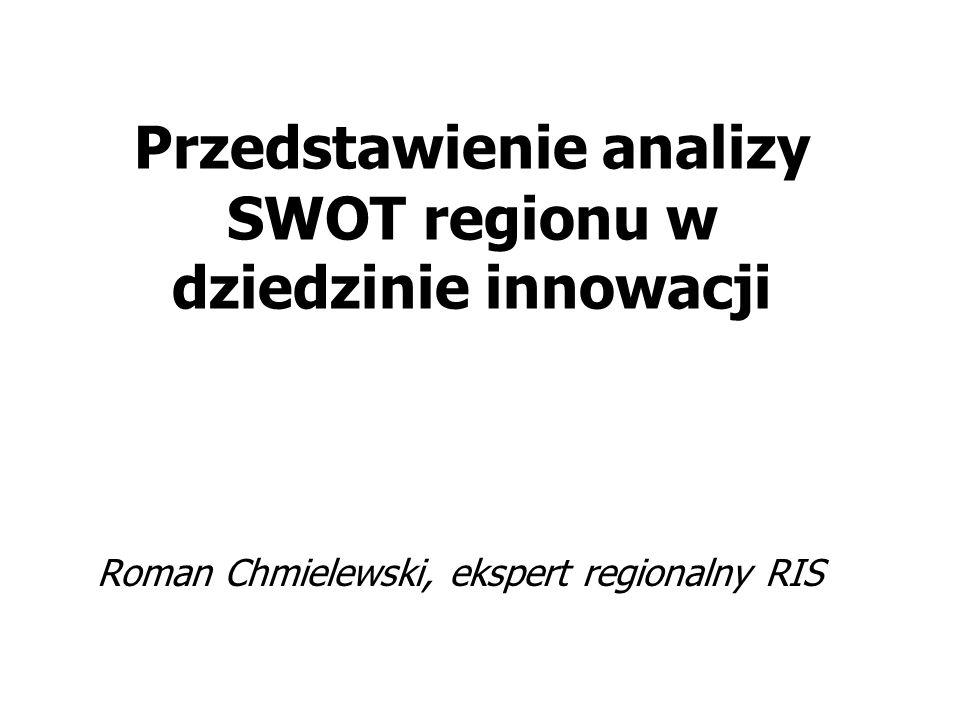 Przedstawienie analizy SWOT regionu w dziedzinie innowacji Roman Chmielewski, ekspert regionalny RIS