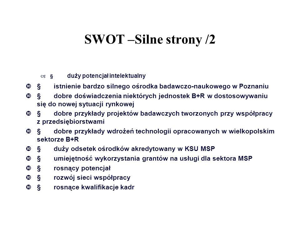 SWOT –Silne strony /2 –  duży potencjał intelektualny  istnienie bardzo silnego ośrodka badawczo-naukowego w Poznaniu  dobre doświadczenia niektó