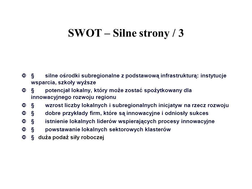 SWOT – Silne strony / 3  silne ośrodki subregionalne z podstawową infrastrukturą: instytucje wsparcia, szkoły wyższe  potencjał lokalny, który moż
