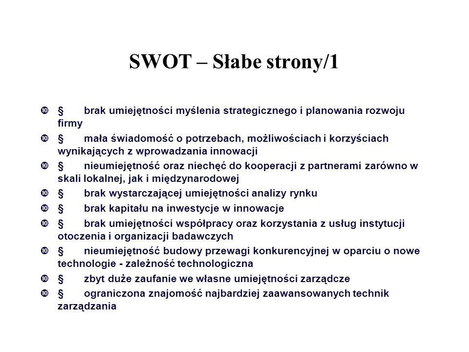 SWOT – Słabe strony/1  brak umiejętności myślenia strategicznego i planowania rozwoju firmy  mała świadomość o potrzebach, możliwościach i korzyśc
