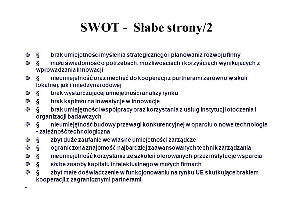 SWOT - Słabe strony/2  brak umiejętności myślenia strategicznego i planowania rozwoju firmy  mała świadomość o potrzebach, możliwościach i korzyśc