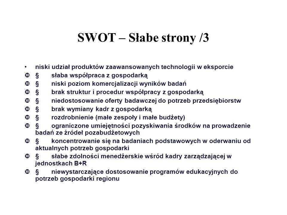 SWOT – Słabe strony /3 niski udział produktów zaawansowanych technologii w eksporcie  słaba współpraca z gospodarką  niski poziom komercjalizacji