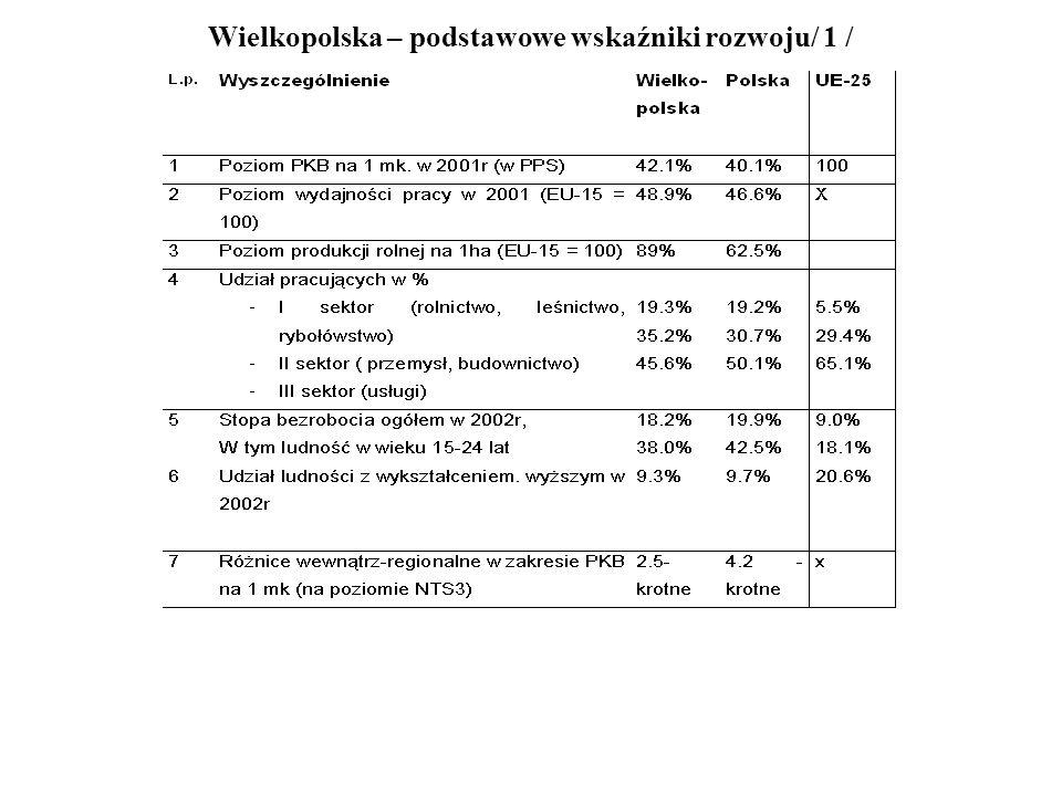 Wielkopolska – podstawowe wskaźniki rozwoju / 2 Przedstawione w tabeli dane świadczą o ogromnej luce rozwojowej, pod każdym względem, między krajami Unii a Wielkopolską.
