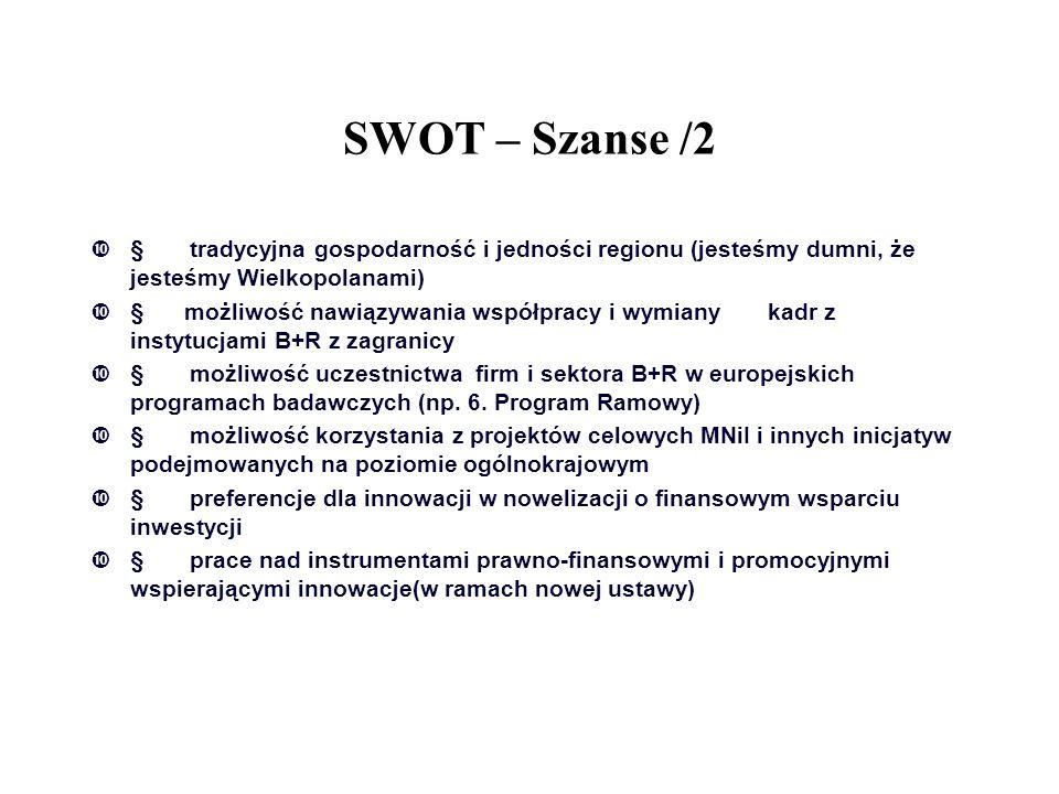 SWOT – Szanse /2  tradycyjna gospodarność i jedności regionu (jesteśmy dumni, że jesteśmy Wielkopolanami)  możliwość nawiązywania współpracy i wym