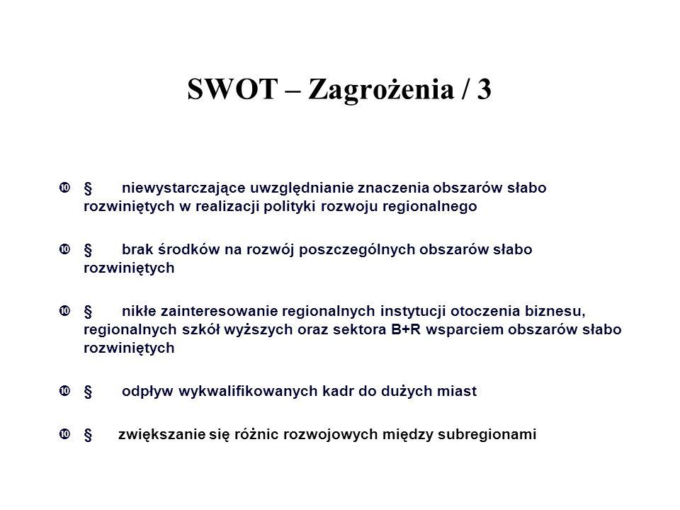 SWOT – Zagrożenia / 3  niewystarczające uwzględnianie znaczenia obszarów słabo rozwiniętych w realizacji polityki rozwoju regionalnego  brak środk