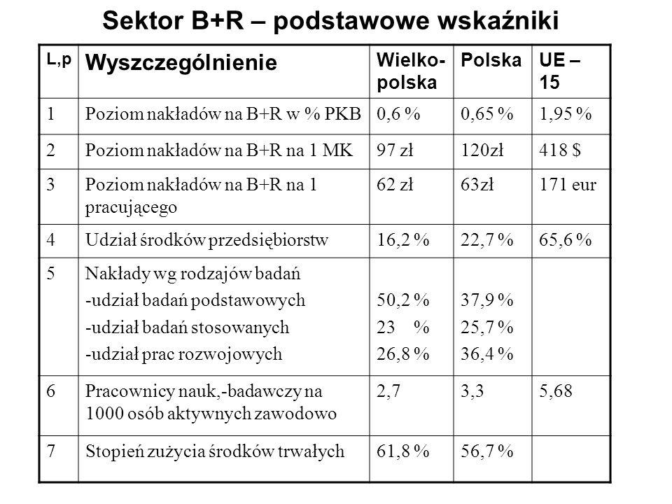 Sektor B+R – podstawowe wskaźniki L,p Wyszczególnienie Wielko- polska PolskaUE – 15 1Poziom nakładów na B+R w % PKB0,6 %0,65 %1,95 % 2Poziom nakładów