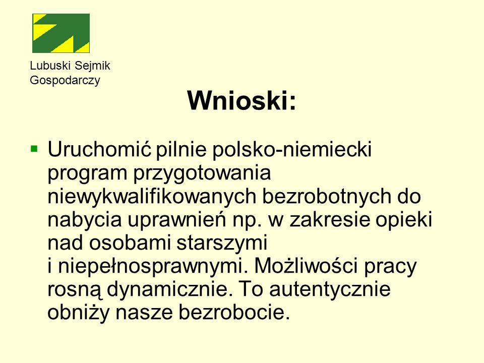 Wnioski:  Uruchomić pilnie polsko-niemiecki program przygotowania niewykwalifikowanych bezrobotnych do nabycia uprawnień np.