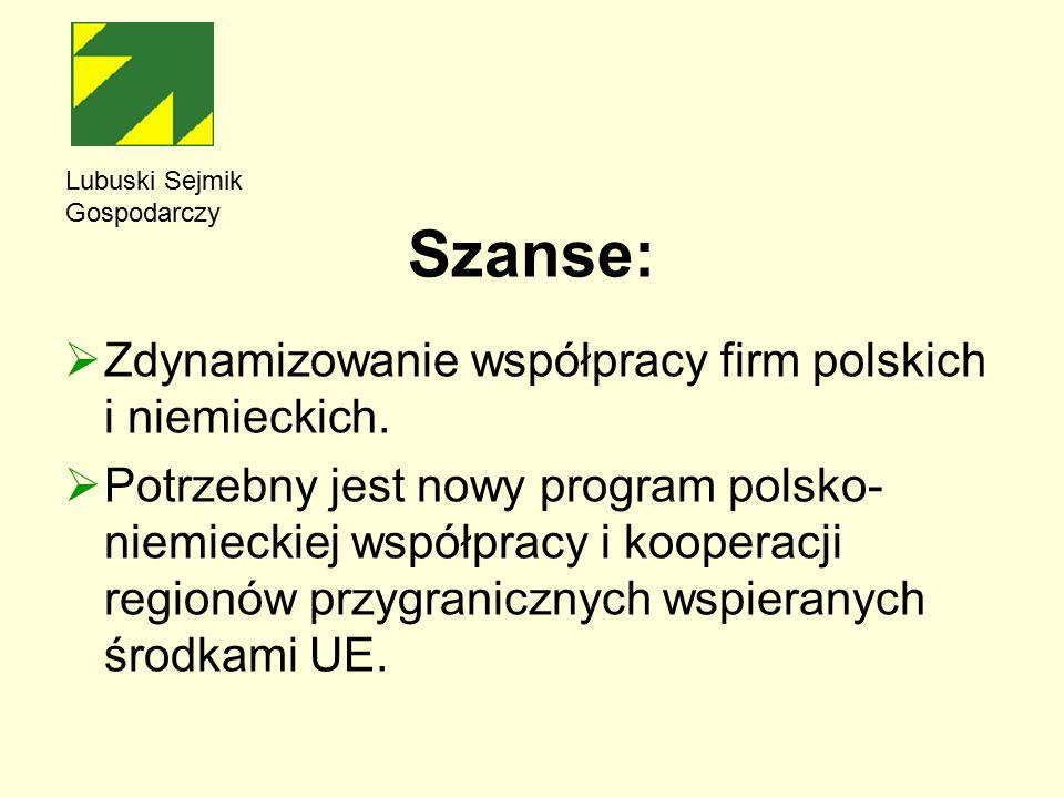Szanse:  Zdynamizowanie współpracy firm polskich i niemieckich.