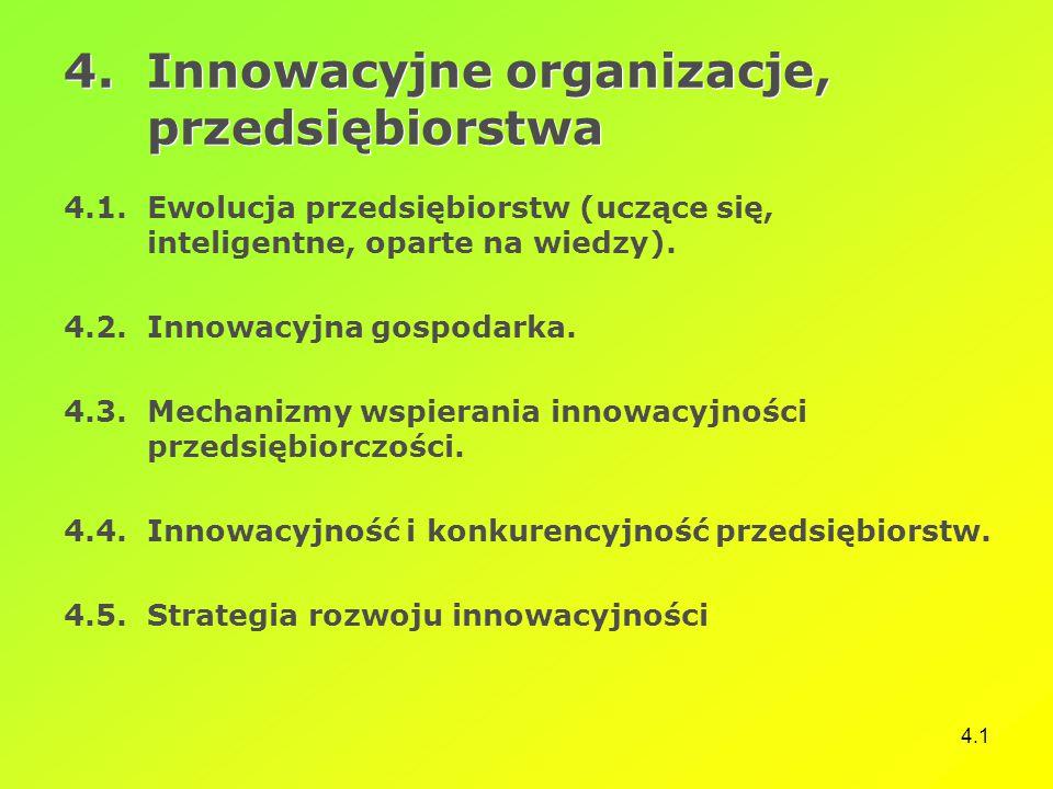 4.1 4.Innowacyjne organizacje, przedsiębiorstwa 4.1.Ewolucja przedsiębiorstw (uczące się, inteligentne, oparte na wiedzy). 4.2.Innowacyjna gospodarka.