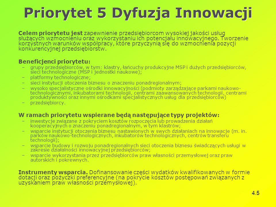 4.5 Priorytet 5 Dyfuzja Innowacji Celem priorytetu jest zapewnienie przedsiębiorcom wysokiej jakości usług służących wzmocnieniu oraz wykorzystaniu ich potencjału innowacyjnego.