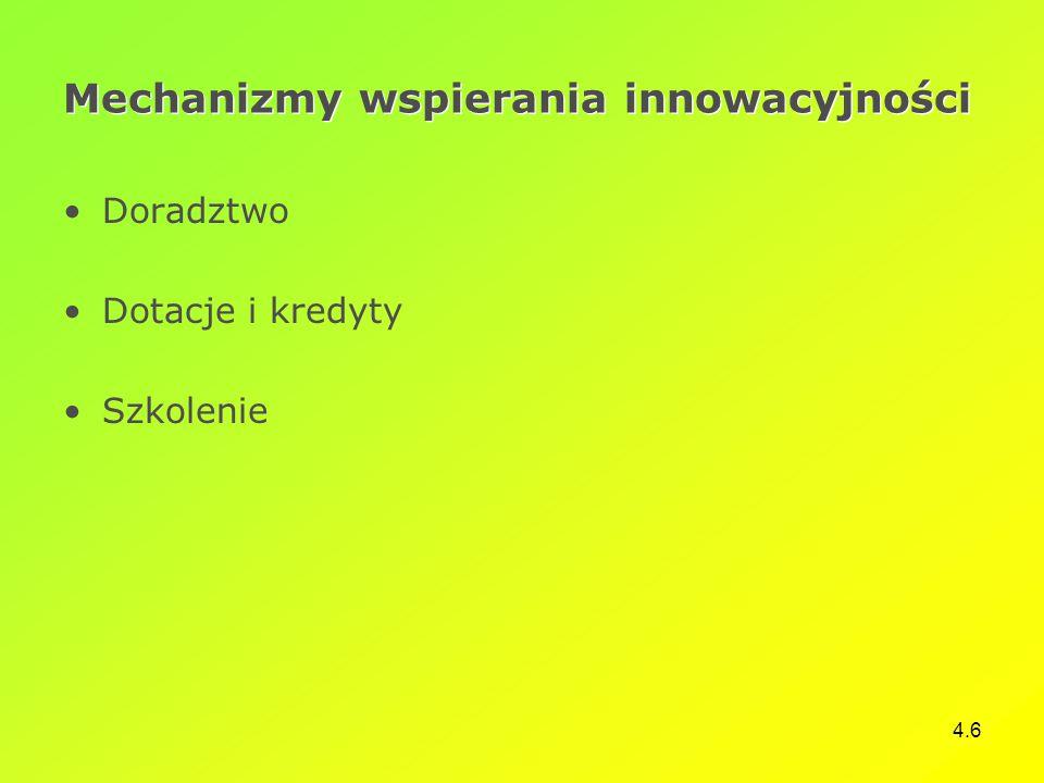 4.6 Mechanizmy wspierania innowacyjności Doradztwo Dotacje i kredyty Szkolenie