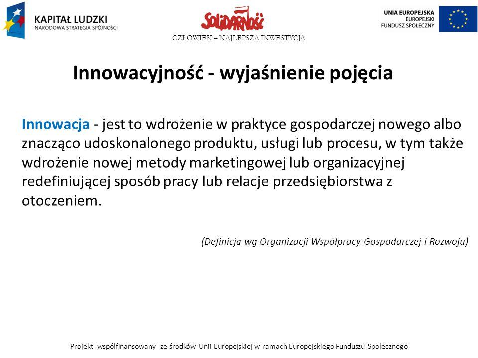 CZŁOWIEK – NAJLEPSZA INWESTYCJA Innowacyjność - wyjaśnienie pojęcia Innowacja - jest to wdrożenie w praktyce gospodarczej nowego albo znacząco udoskon