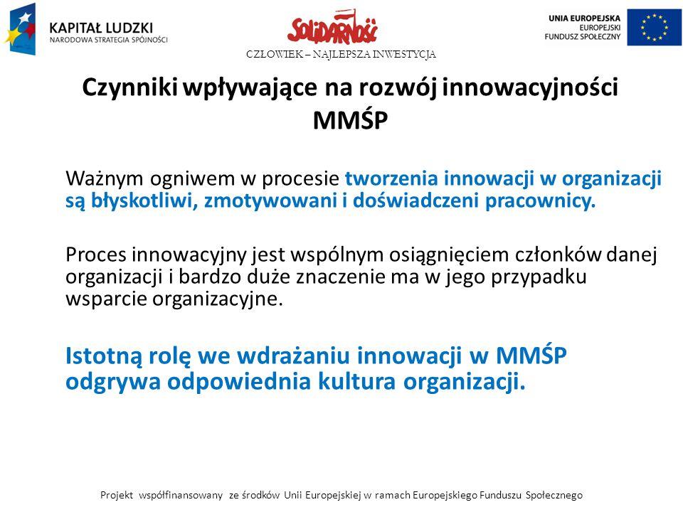 CZŁOWIEK – NAJLEPSZA INWESTYCJA Czynniki wpływające na rozwój innowacyjności MMŚP Ważnym ogniwem w procesie tworzenia innowacji w organizacji są błysk