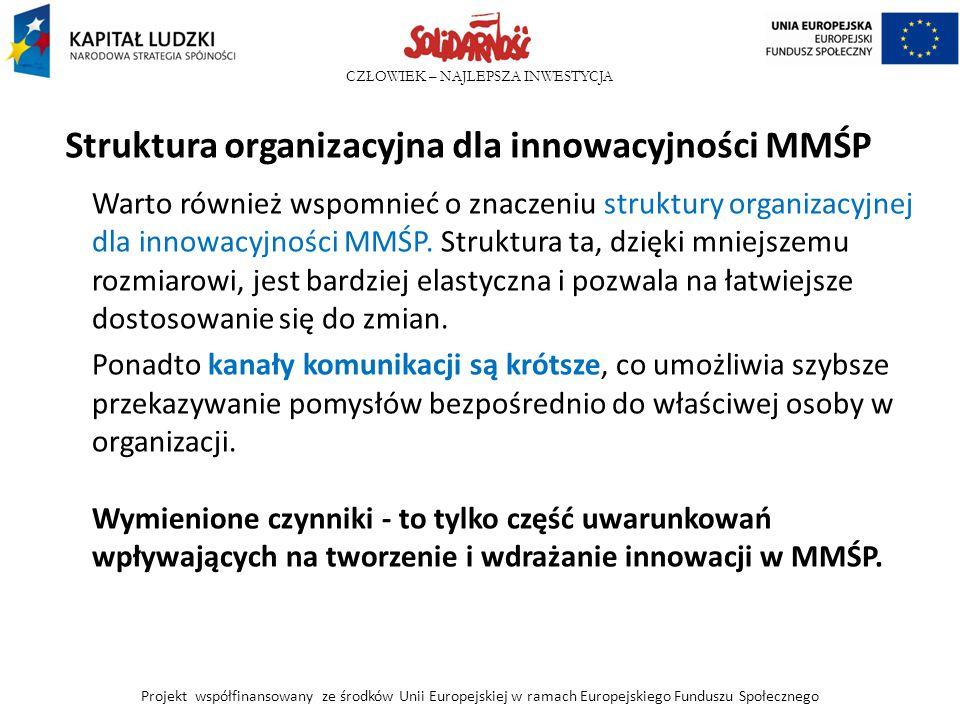 CZŁOWIEK – NAJLEPSZA INWESTYCJA Struktura organizacyjna dla innowacyjności MMŚP Warto również wspomnieć o znaczeniu struktury organizacyjnej dla innow