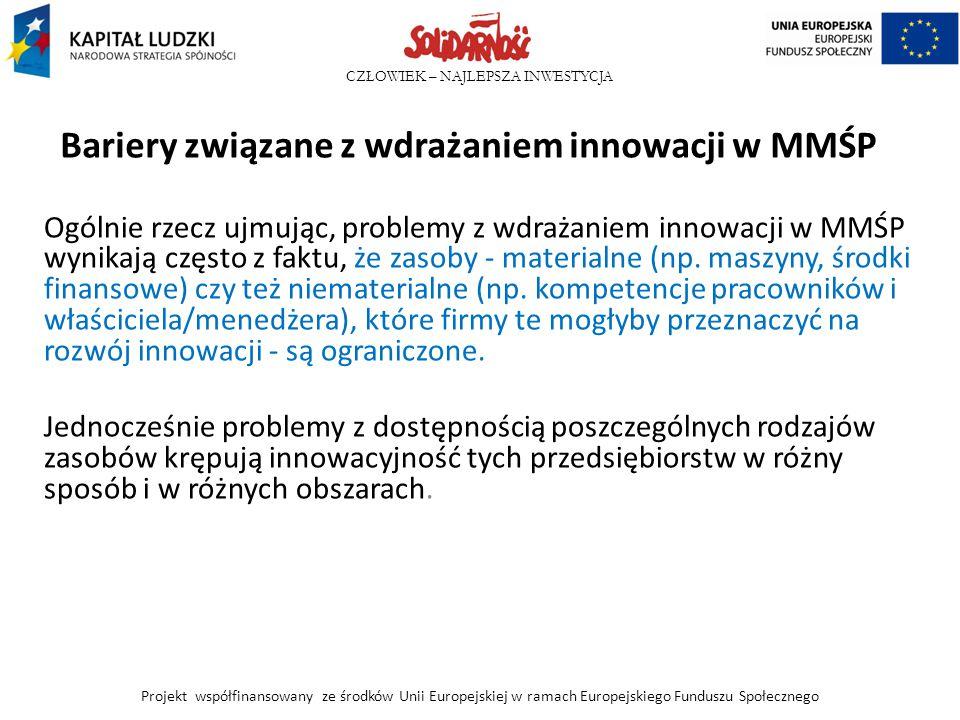 CZŁOWIEK – NAJLEPSZA INWESTYCJA Bariery związane z wdrażaniem innowacji w MMŚP Ogólnie rzecz ujmując, problemy z wdrażaniem innowacji w MMŚP wynikają