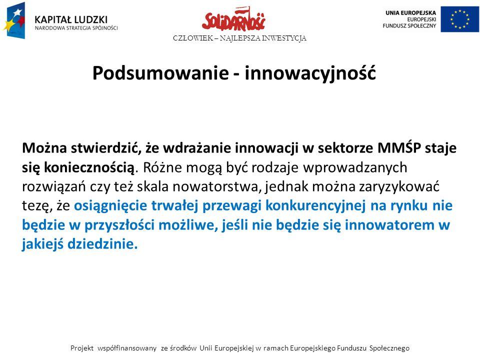 CZŁOWIEK – NAJLEPSZA INWESTYCJA Podsumowanie - innowacyjność Można stwierdzić, że wdrażanie innowacji w sektorze MMŚP staje się koniecznością. Różne m