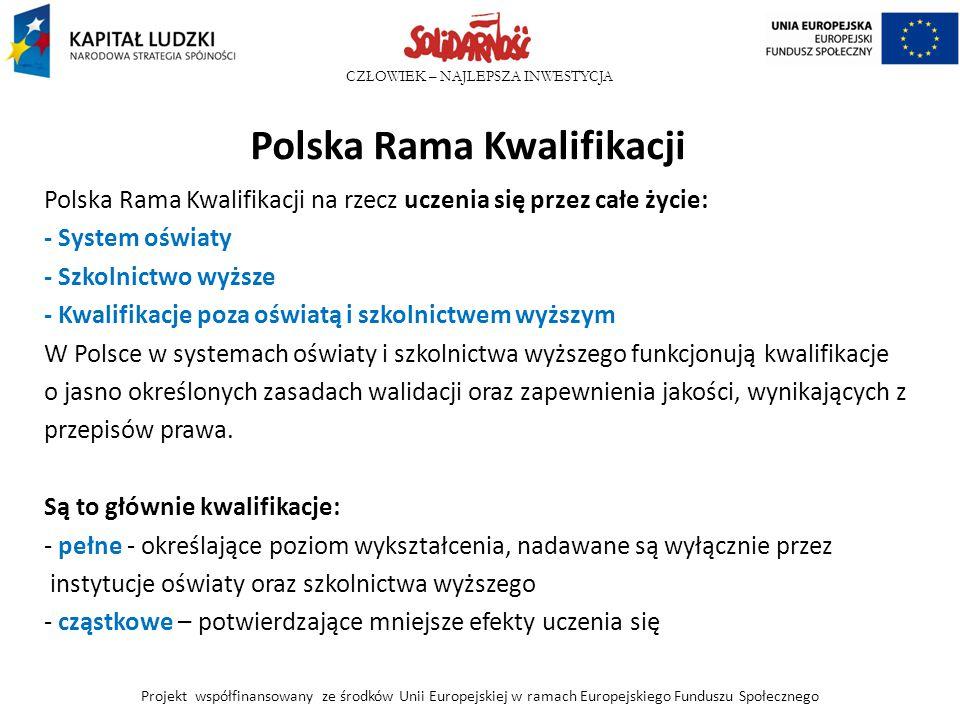 CZŁOWIEK – NAJLEPSZA INWESTYCJA Polska Rama Kwalifikacji Polska Rama Kwalifikacji na rzecz uczenia się przez całe życie: - System oświaty - Szkolnictw
