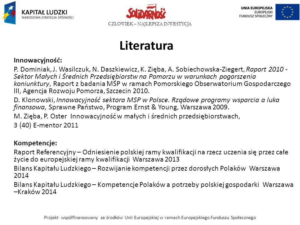 CZŁOWIEK – NAJLEPSZA INWESTYCJA Literatura Innowacyjność: P. Dominiak, J. Wasilczuk, N. Daszkiewicz, K. Zięba, A. Sobiechowska-Ziegert, Raport 2010 -