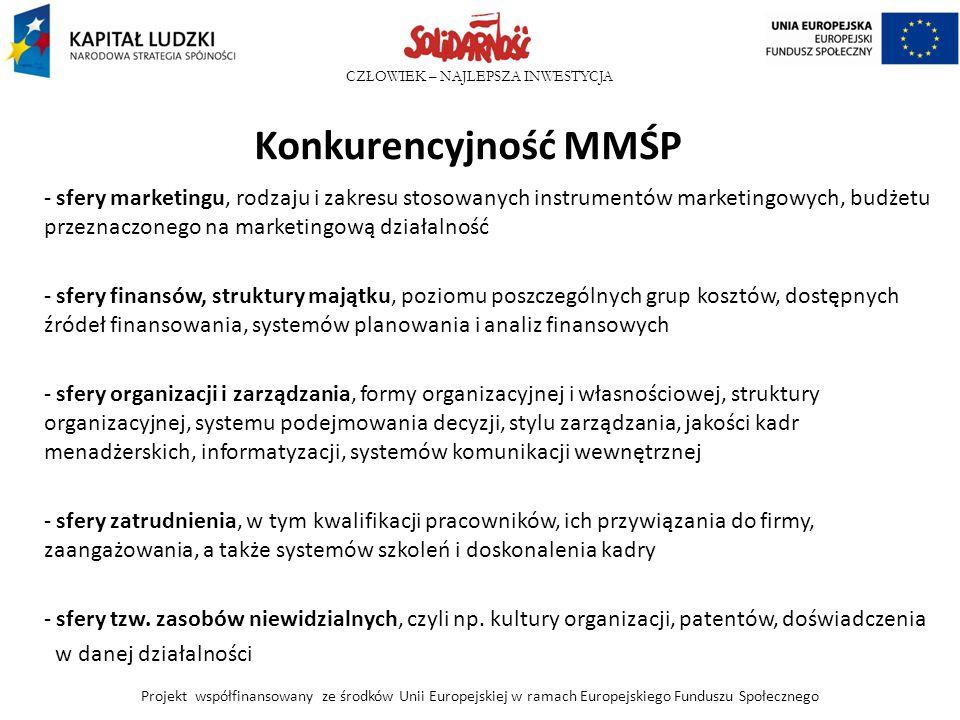 CZŁOWIEK – NAJLEPSZA INWESTYCJA Konkurencyjność MMŚP - sfery marketingu, rodzaju i zakresu stosowanych instrumentów marketingowych, budżetu przeznaczo