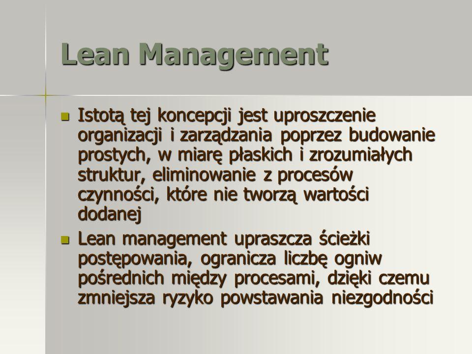 Lean Management Istotą tej koncepcji jest uproszczenie organizacji i zarządzania poprzez budowanie prostych, w miarę płaskich i zrozumiałych struktur,