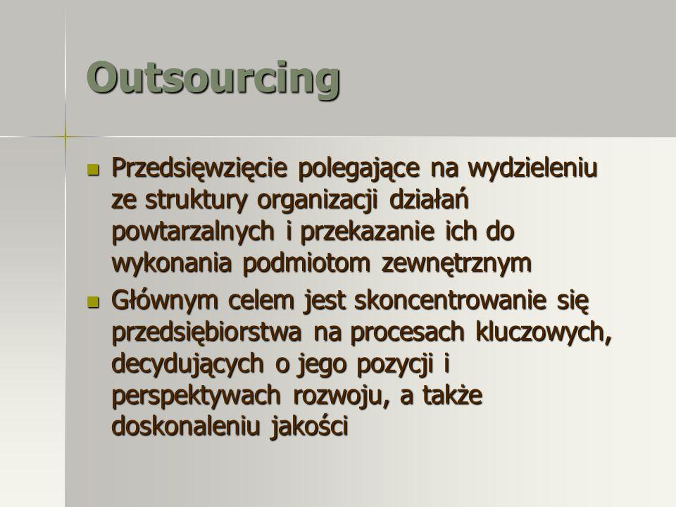 Outsourcing Przedsięwzięcie polegające na wydzieleniu ze struktury organizacji działań powtarzalnych i przekazanie ich do wykonania podmiotom zewnętrz