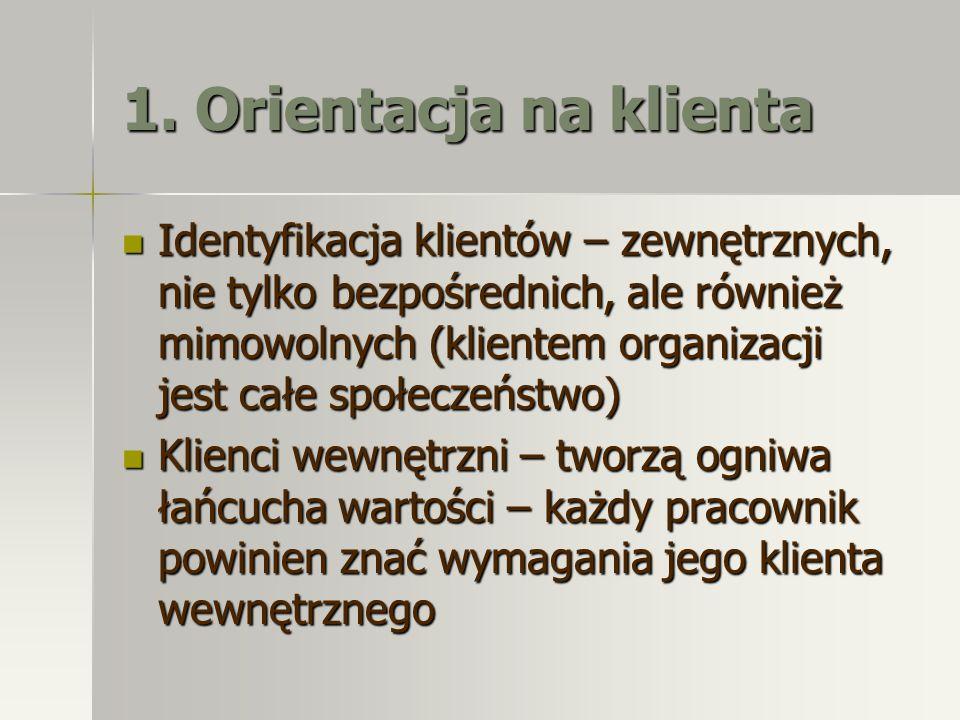 1. Orientacja na klienta Identyfikacja klientów – zewnętrznych, nie tylko bezpośrednich, ale również mimowolnych (klientem organizacji jest całe społe