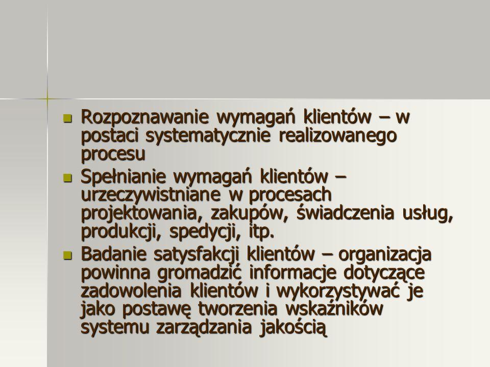 Rozpoznawanie wymagań klientów – w postaci systematycznie realizowanego procesu Rozpoznawanie wymagań klientów – w postaci systematycznie realizowaneg