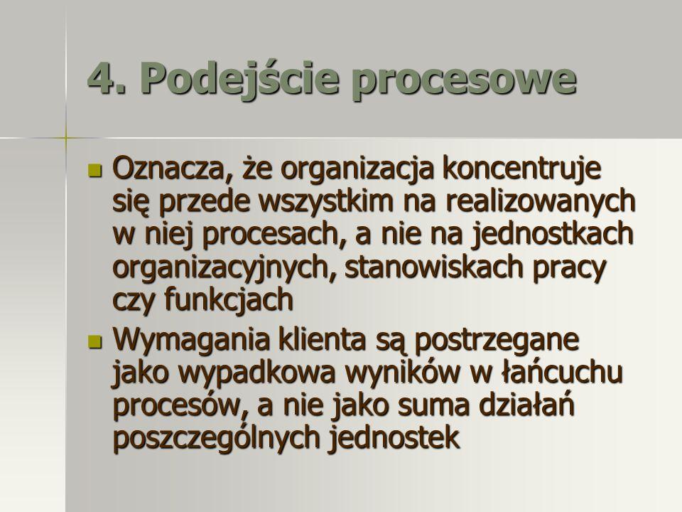 4. Podejście procesowe Oznacza, że organizacja koncentruje się przede wszystkim na realizowanych w niej procesach, a nie na jednostkach organizacyjnyc