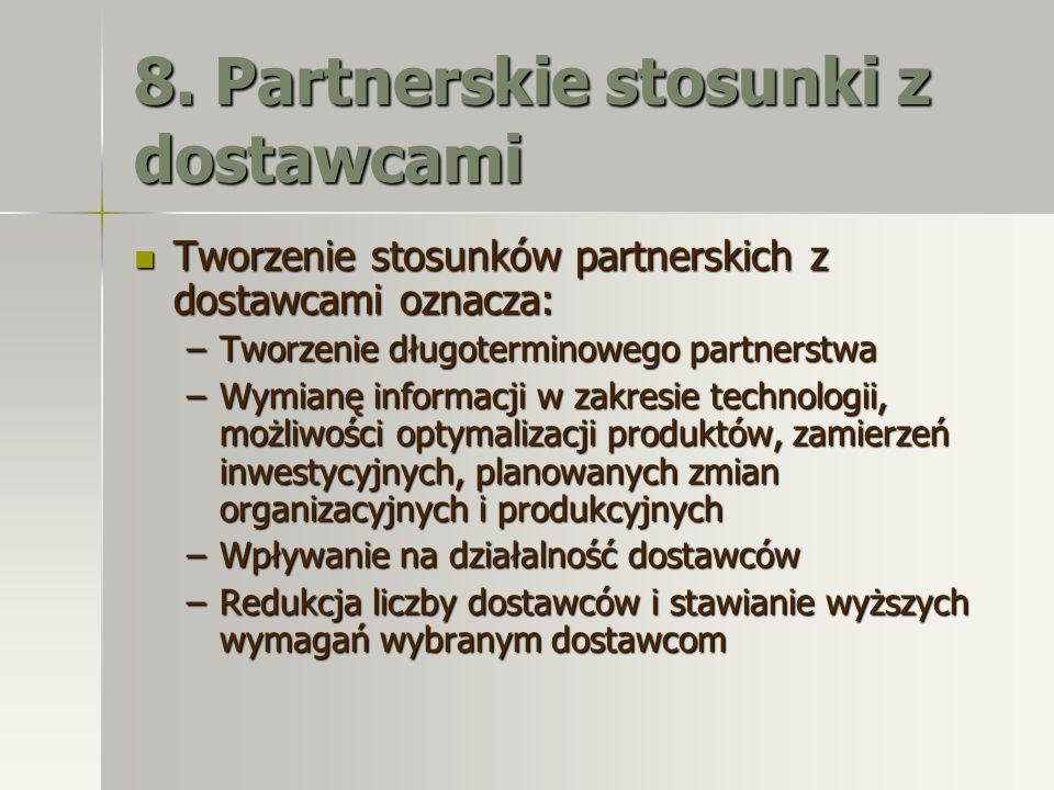 8. Partnerskie stosunki z dostawcami Tworzenie stosunków partnerskich z dostawcami oznacza: Tworzenie stosunków partnerskich z dostawcami oznacza: –Tw