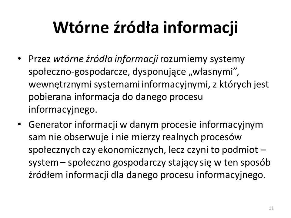 """11 Wtórne źródła informacji Przez wtórne źródła informacji rozumiemy systemy społeczno-gospodarcze, dysponujące """"własnymi"""", wewnętrznymi systemami inf"""