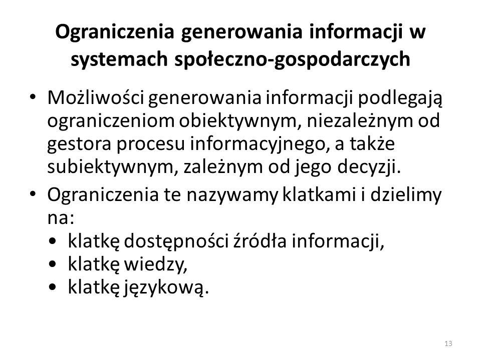 13 Ograniczenia generowania informacji w systemach społeczno-gospodarczych Możliwości generowania informacji podlegają ograniczeniom obiektywnym, niez