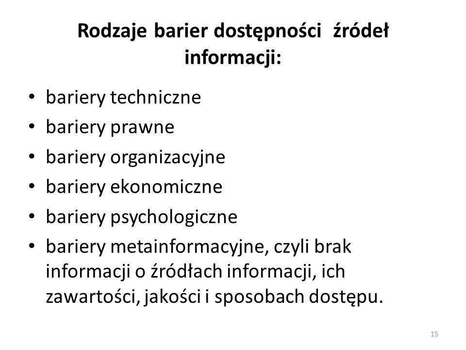 15 Rodzaje barier dostępności źródeł informacji: bariery techniczne bariery prawne bariery organizacyjne bariery ekonomiczne bariery psychologiczne ba