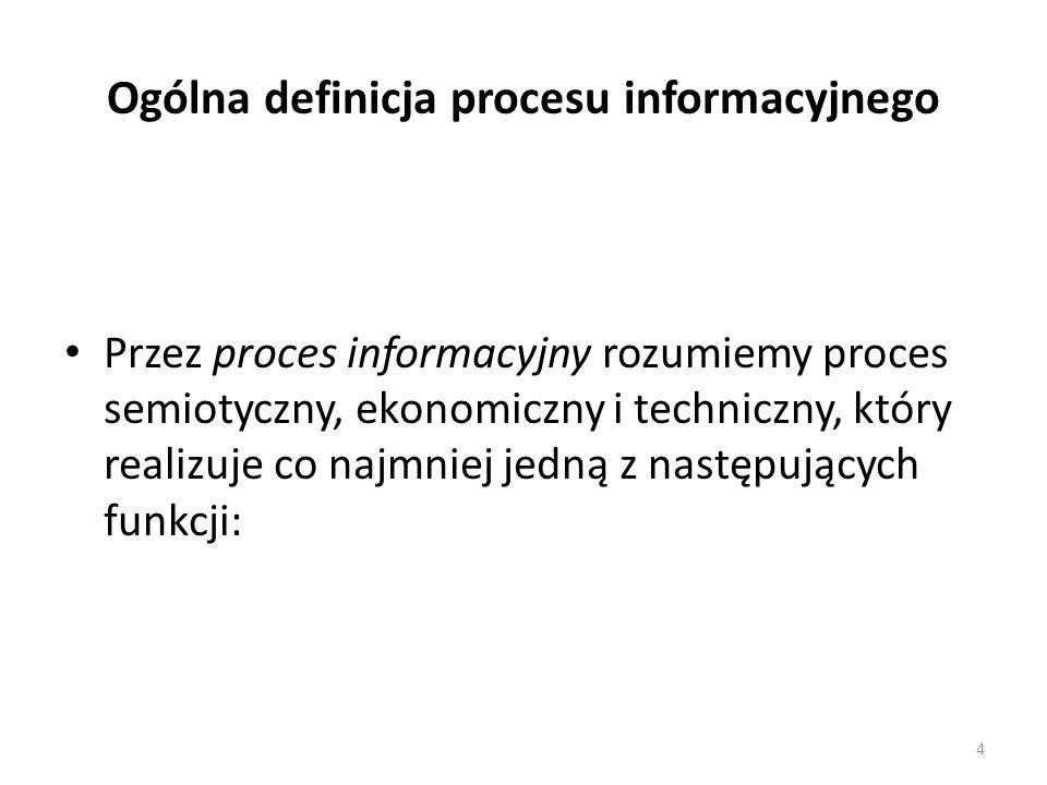 4 Ogólna definicja procesu informacyjnego Przez proces informacyjny rozumiemy proces semiotyczny, ekonomiczny i techniczny, który realizuje co najmnie