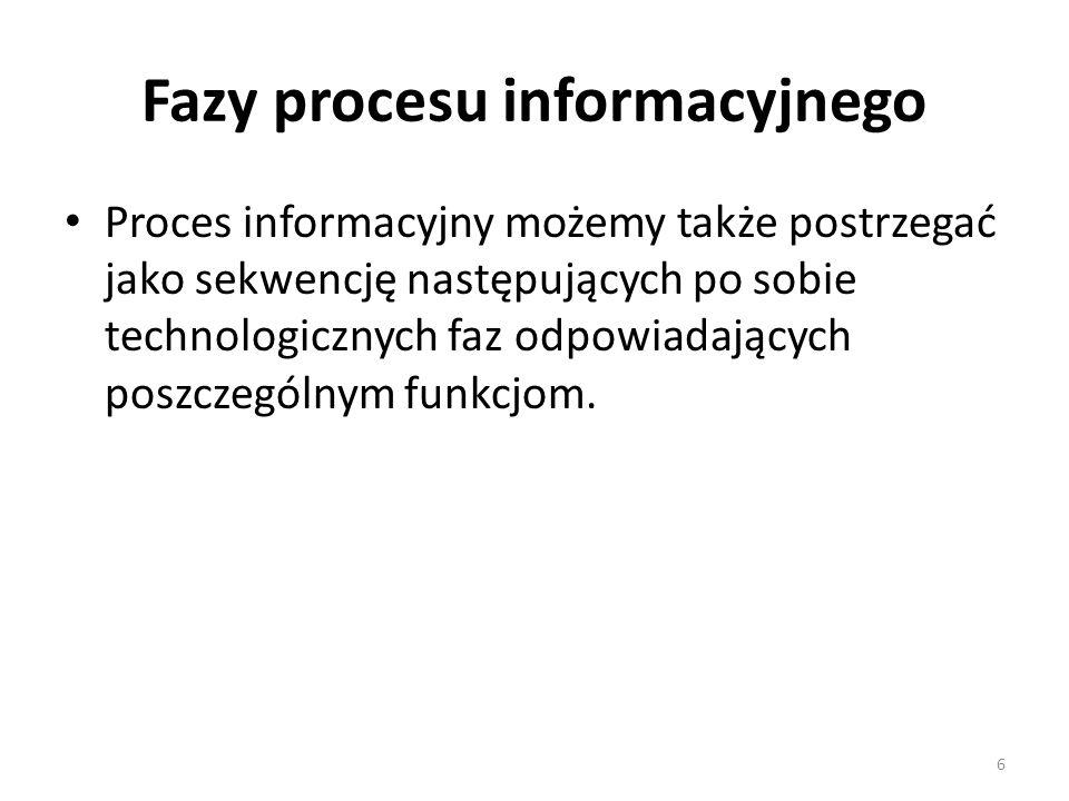 6 Fazy procesu informacyjnego Proces informacyjny możemy także postrzegać jako sekwencję następujących po sobie technologicznych faz odpowiadających p