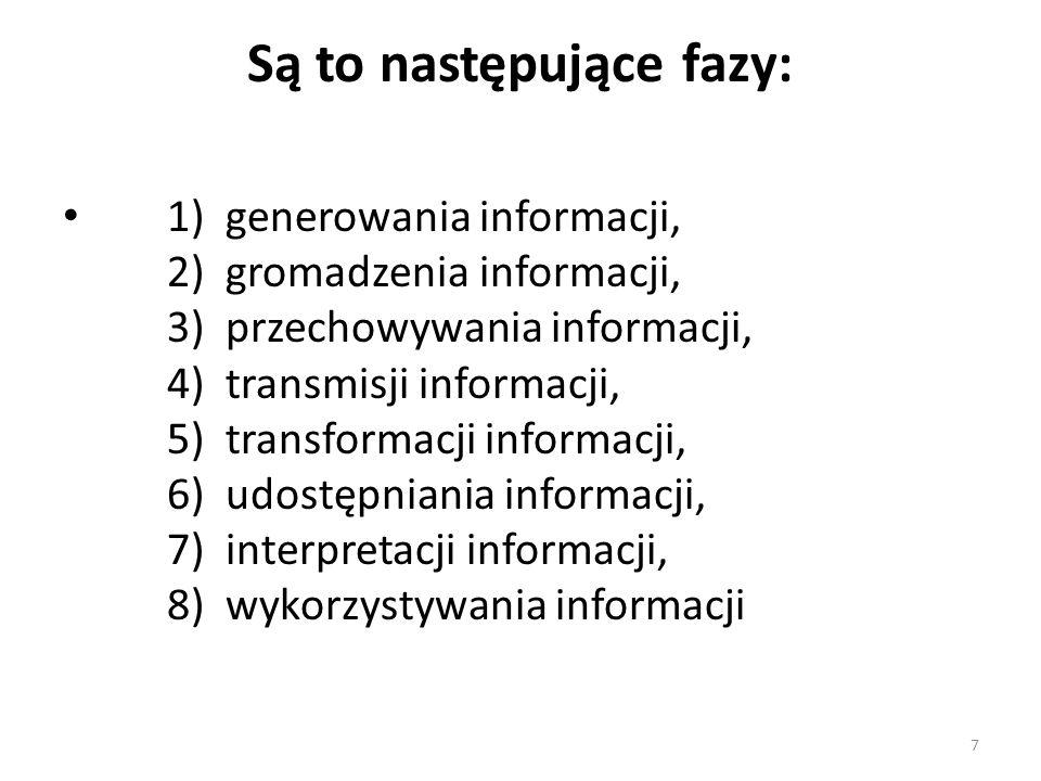 7 Są to następujące fazy: 1) generowania informacji, 2) gromadzenia informacji, 3) przechowywania informacji, 4) transmisji informacji, 5) transformac