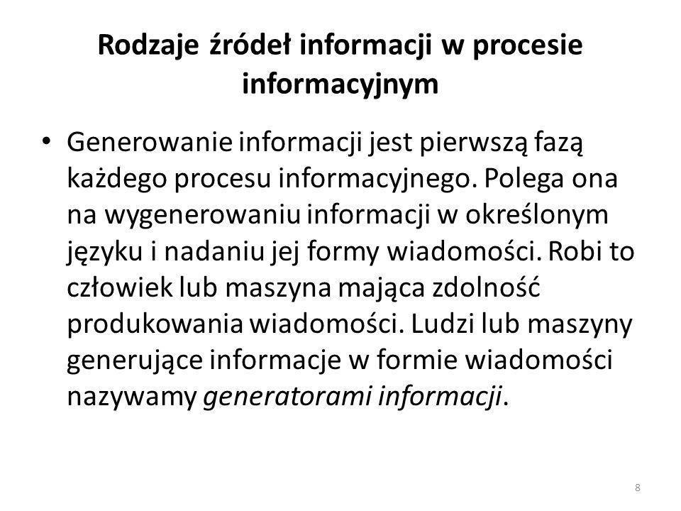 8 Rodzaje źródeł informacji w procesie informacyjnym Generowanie informacji jest pierwszą fazą każdego procesu informacyjnego. Polega ona na wygenerow