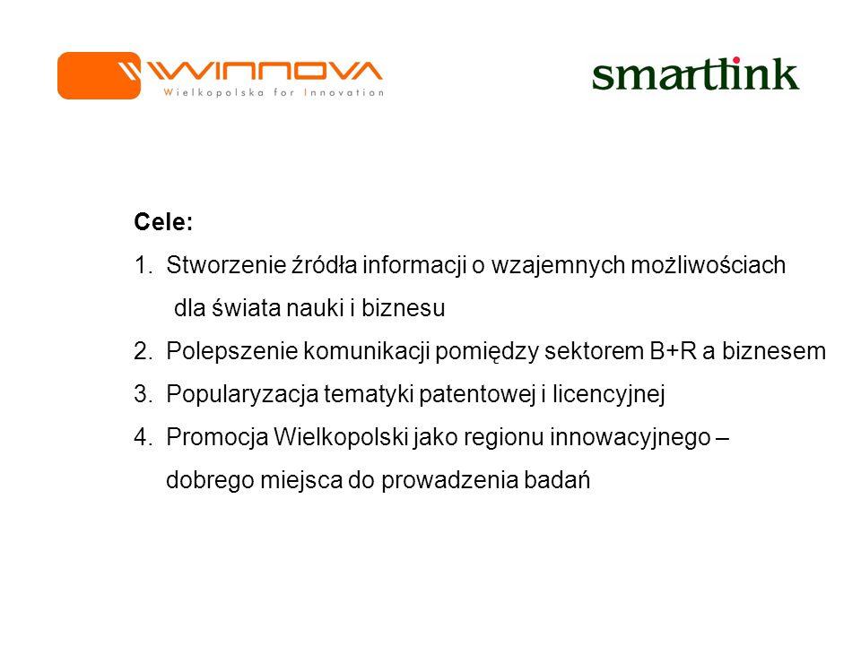 Cele: 1.Stworzenie źródła informacji o wzajemnych możliwościach dla świata nauki i biznesu 2.Polepszenie komunikacji pomiędzy sektorem B+R a biznesem 3.Popularyzacja tematyki patentowej i licencyjnej 4.Promocja Wielkopolski jako regionu innowacyjnego – dobrego miejsca do prowadzenia badań