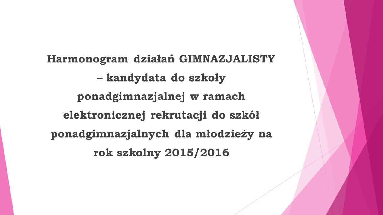 Harmonogram działań GIMNAZJALISTY – kandydata do szkoły ponadgimnazjalnej w ramach elektronicznej rekrutacji do szkół ponadgimnazjalnych dla młodzieży