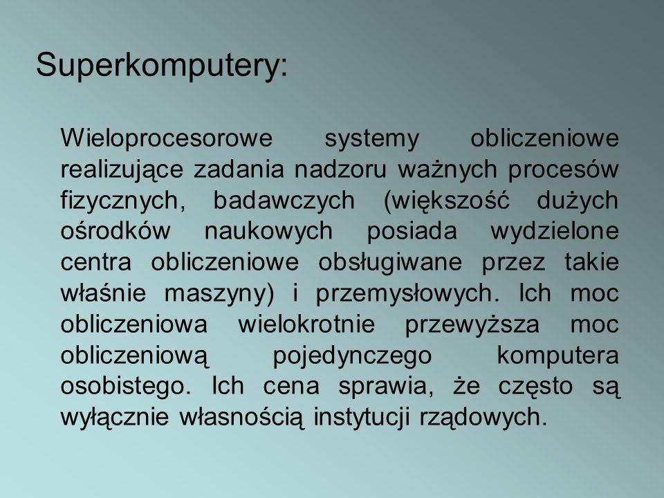 Superkomputery: Wieloprocesorowe systemy obliczeniowe realizujące zadania nadzoru ważnych procesów fizycznych, badawczych (większość dużych ośrodków n