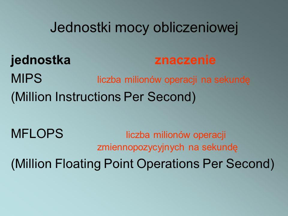 Jednostki mocy obliczeniowej jednostka znaczenie MIPS liczba milionów operacji na sekundę (Million Instructions Per Second) MFLOPS liczba milionów ope