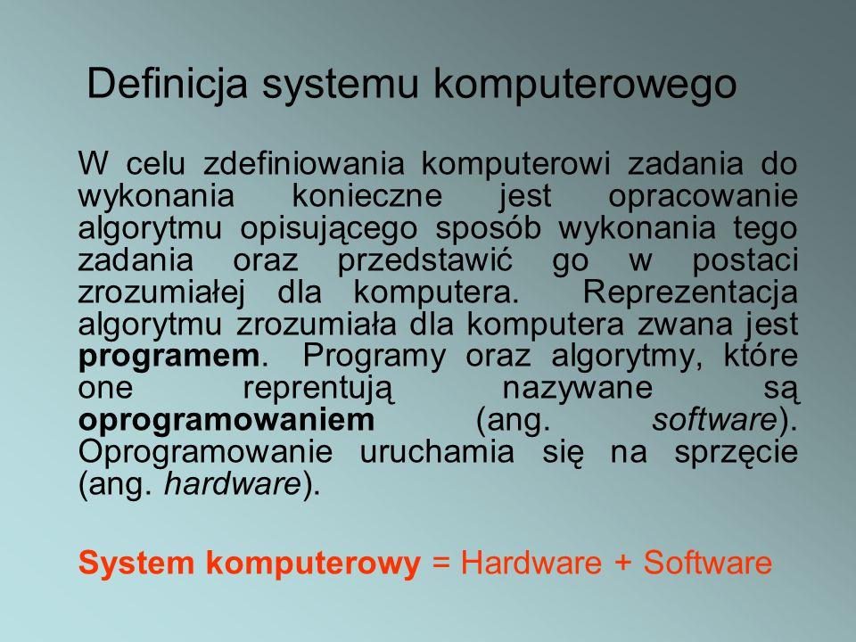W celu zdefiniowania komputerowi zadania do wykonania konieczne jest opracowanie algorytmu opisującego sposób wykonania tego zadania oraz przedstawić