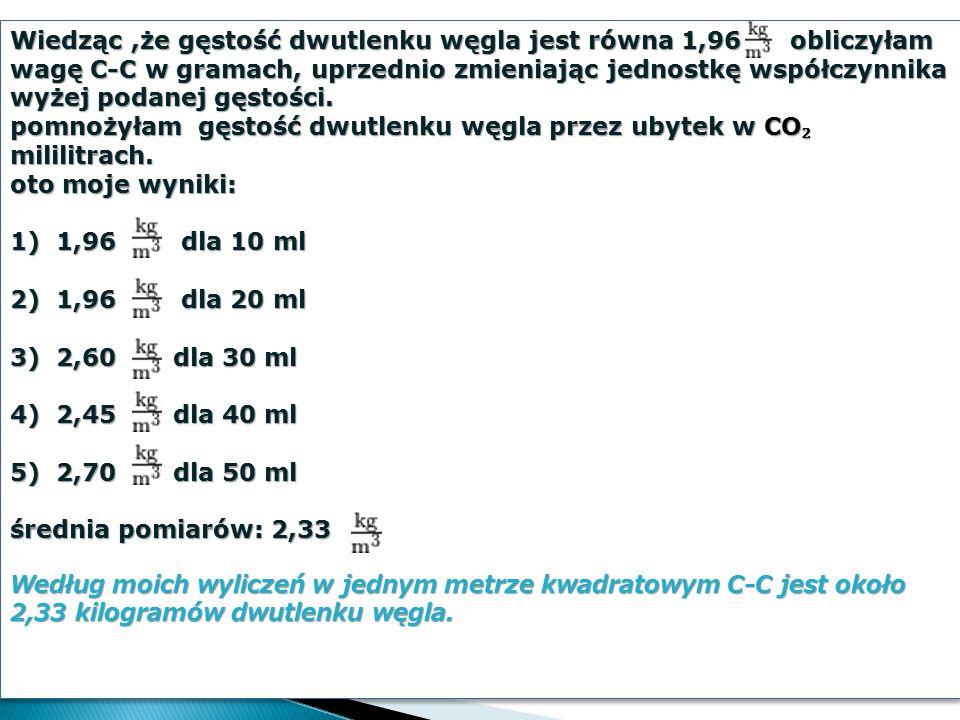 Wiedząc,że gęstość dwutlenku węgla jest równa 1,96 obliczyłam wagę C-C w gramach, uprzednio zmieniając jednostkę współczynnika wyżej podanej gęstości.