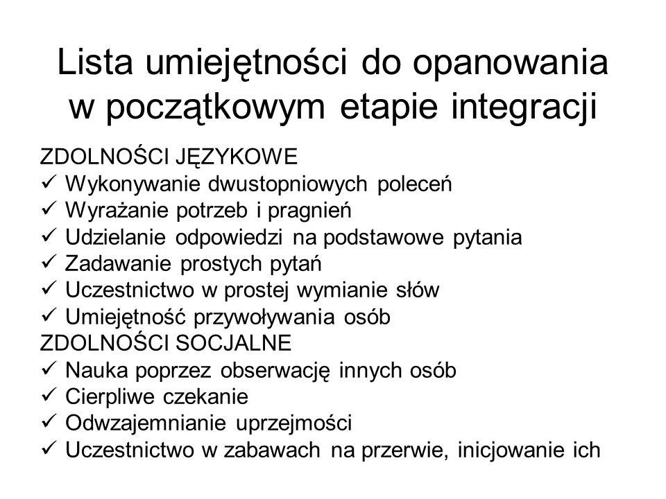 Lista umiejętności do opanowania w początkowym etapie integracji ZDOLNOŚCI JĘZYKOWE Wykonywanie dwustopniowych poleceń Wyrażanie potrzeb i pragnień Ud