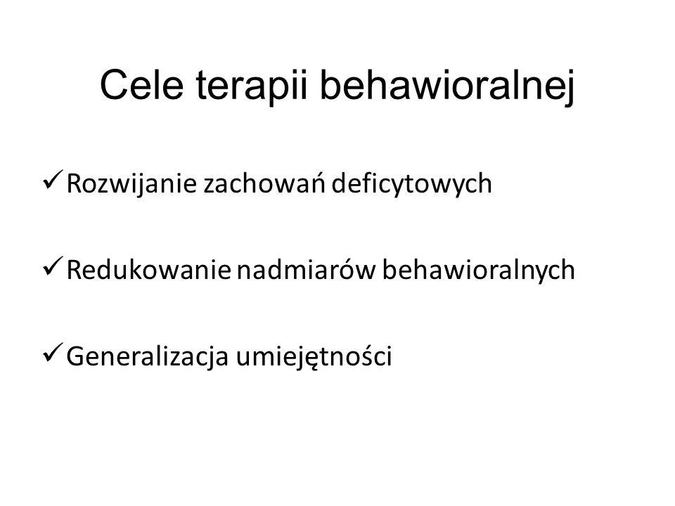 Cele terapii behawioralnej Rozwijanie zachowań deficytowych Redukowanie nadmiarów behawioralnych Generalizacja umiejętności