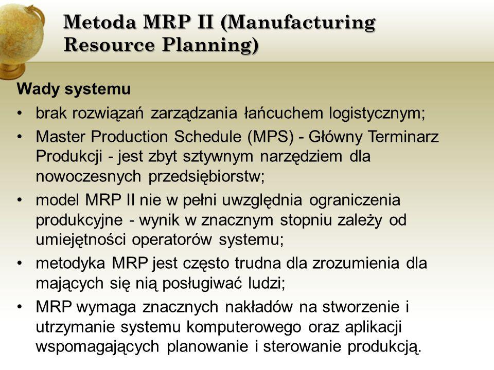 Metoda MRP II (Manufacturing Resource Planning) Wady systemu brak rozwiązań zarządzania łańcuchem logistycznym; Master Production Schedule (MPS) - Głó