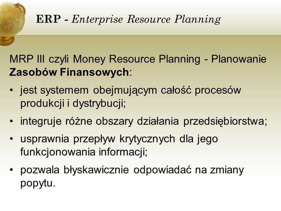 ERP - Enterprise Resource Planning MRP III czyli Money Resource Planning - Planowanie Zasobów Finansowych: jest systemem obejmującym całość procesów p