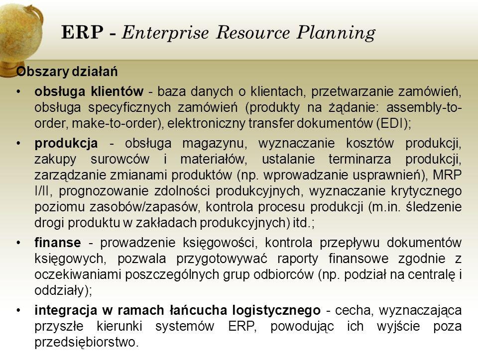 ERP - Enterprise Resource Planning Obszary działań obsługa klientów - baza danych o klientach, przetwarzanie zamówień, obsługa specyficznych zamówień