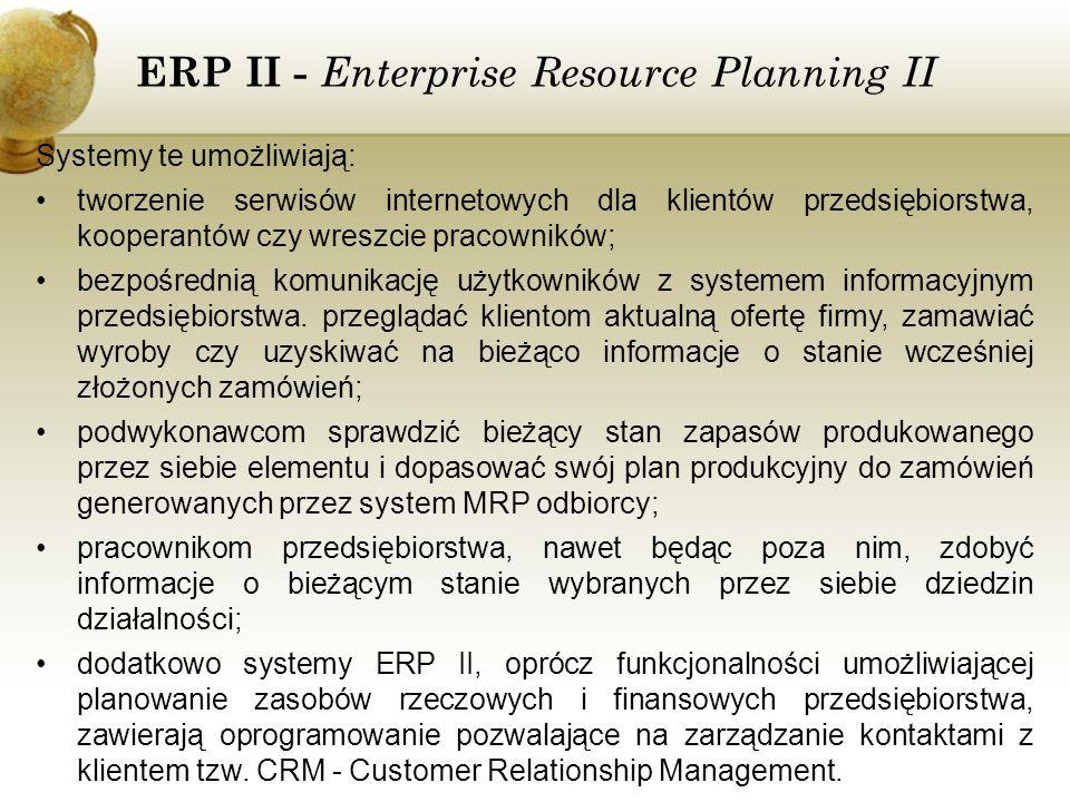 ERP II - Enterprise Resource Planning II Systemy te umożliwiają: tworzenie serwisów internetowych dla klientów przedsiębiorstwa, kooperantów czy wresz