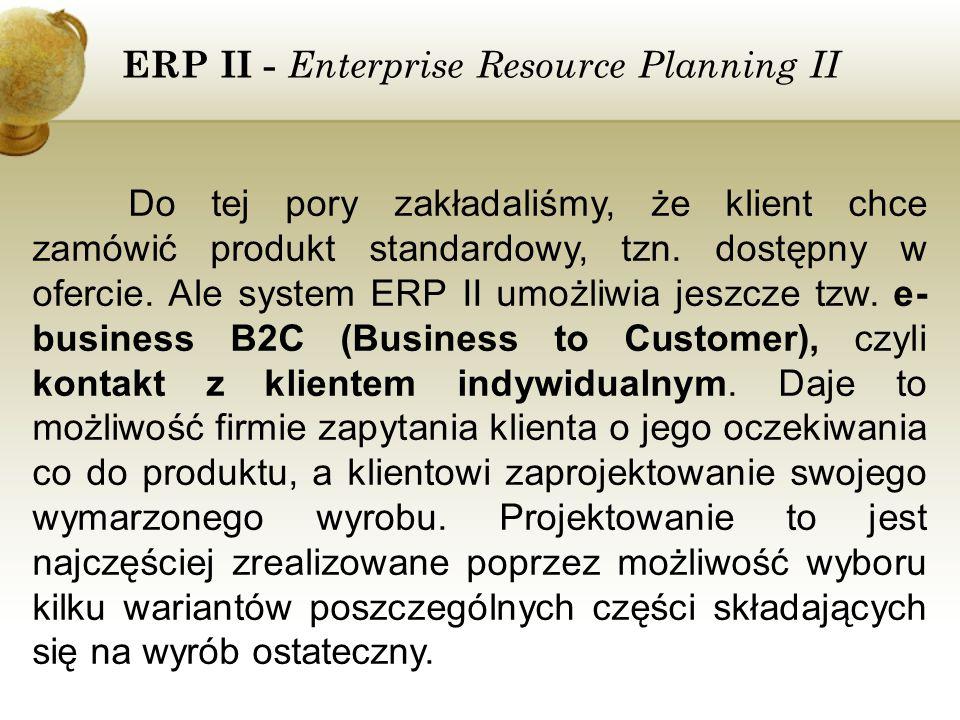 ERP II - Enterprise Resource Planning II Do tej pory zakładaliśmy, że klient chce zamówić produkt standardowy, tzn. dostępny w ofercie. Ale system ERP